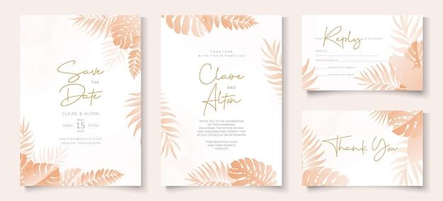 Modello di carta di invito a nozze con design tropicale