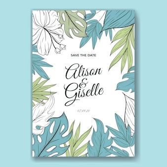 Modello di carta di invito a nozze con contorno di fiori tropicali