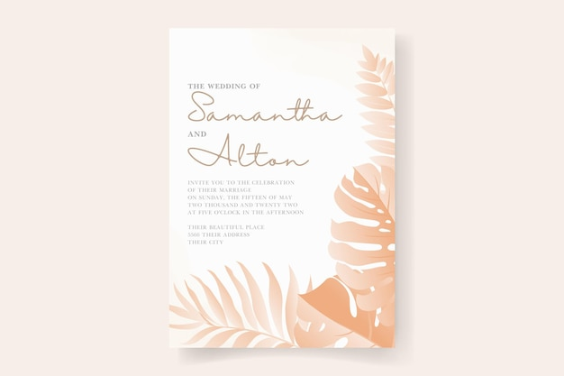 Modello di carta di invito a nozze con design a foglia tropicale