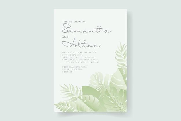 Modello di carta di invito a nozze con design di foglie tropicali