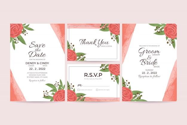Modello di carta di invito a nozze con decorazioni floreali cornice dell'acquerello