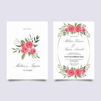 Modello di carta di invito di nozze con decorazione rosa dell'acquerello
