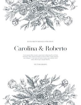 Modello di carta di invito a nozze.