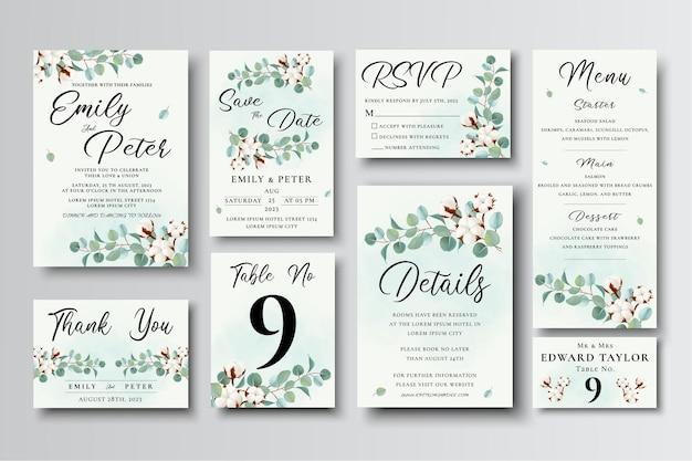 Set di modelli di carta di invito a nozze