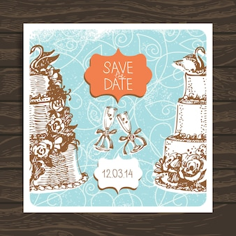Carta di invito a nozze. illustrazione disegnata a mano d'epoca