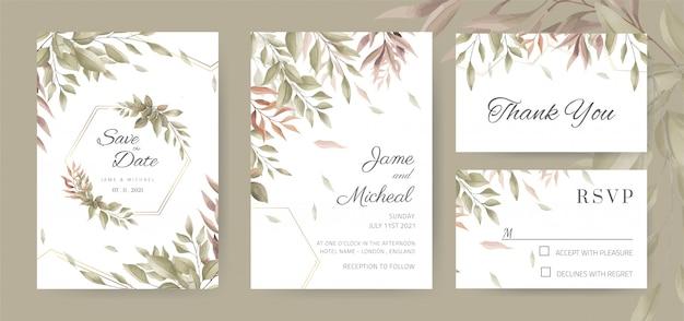 Carta di invito matrimonio vintage. foglia dell'acquerello scheda del modello.
