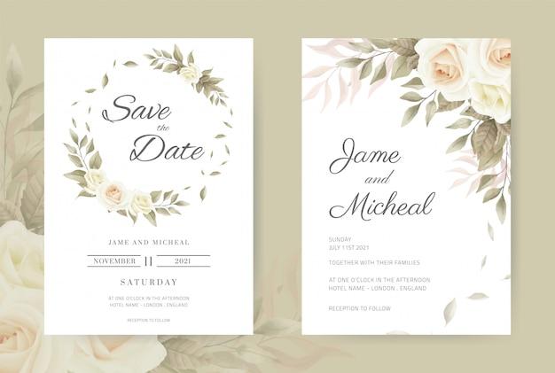 Carta di invito di nozze rose bianche vintage. impostare il modello di carta.