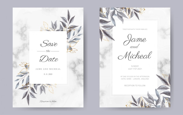 Carta di invito a nozze. la foglia dipinta a mano dell'acquerello con fondo in marmo e foglia d'oro. set di carte modello.