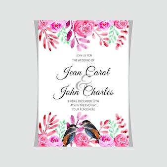 Acquerello della carta dell'invito di nozze con l'uccello