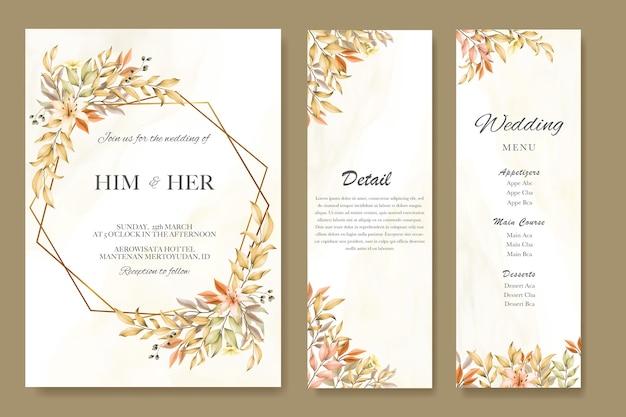 Carta di invito a nozze con foglie d'autunno e modello di menu