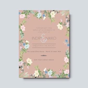 Carta di invito di nozze con fiori belli e artistici