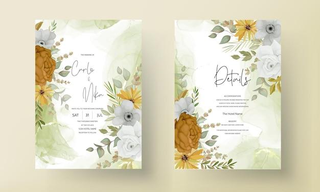 Biglietto d'invito per matrimonio con bellissimi fiori autunnali