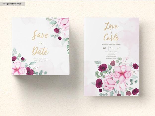 Carta di invito a nozze con bella fioritura floreale