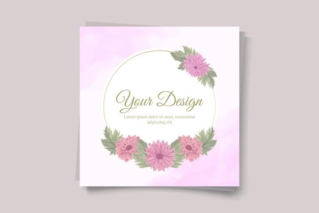 Biglietto d'invito per matrimonio con un bellissimo disegno di fiori di crisantemo
