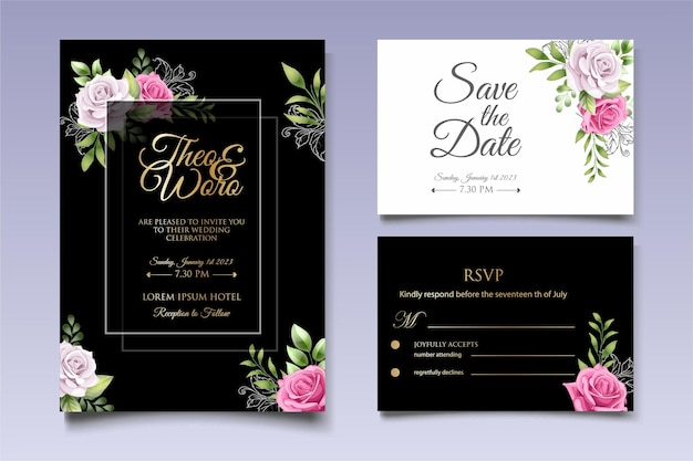 Carta di invito a nozze con bellissimi fiori e foglie