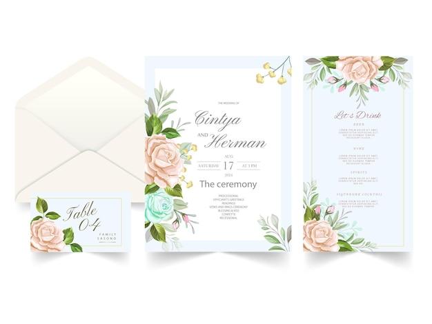 Carta di invito a nozze con bellissimi fiori