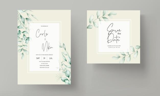 Biglietto d'invito per matrimonio con bellissime decorazioni a foglia