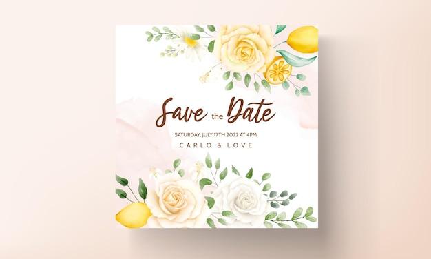 Carta di invito a nozze con bellissime rose estive e cornice di ghirlande di limone