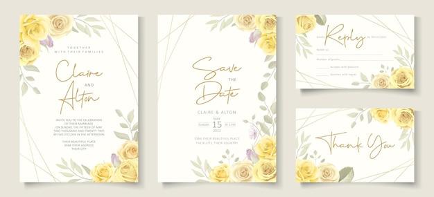Biglietto d'invito per matrimonio con un bellissimo motivo floreale di rosa gialla
