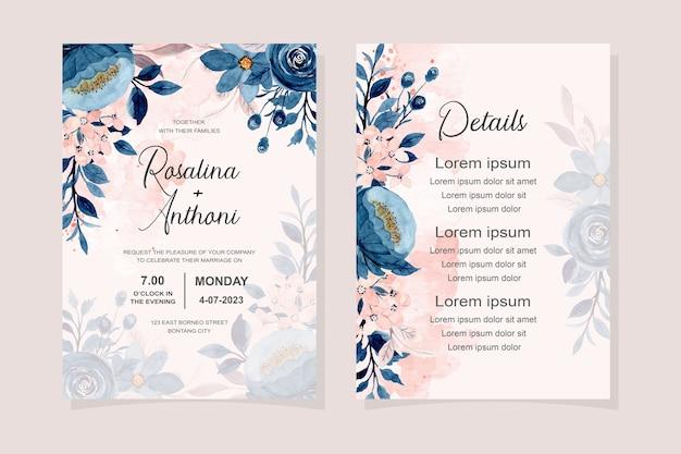 Carta di invito a nozze con acquerello floreale blu