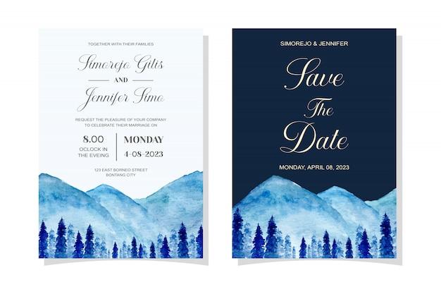 Carta di invito di nozze con acquerello blu alberi di pino e montagna