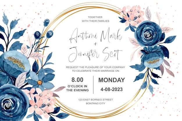 Carta di invito a nozze con acquerello floreale rosa blu