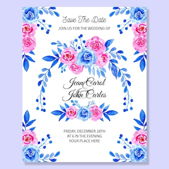 Carta di invito a nozze con acquerello floreale blu e rosa