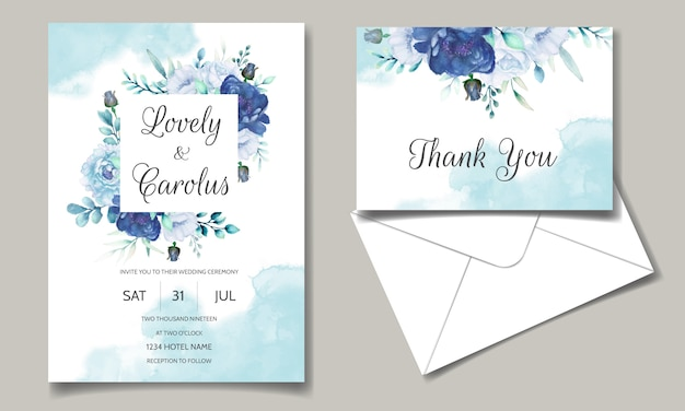 Carta di invito di nozze con acquerello blu floreale