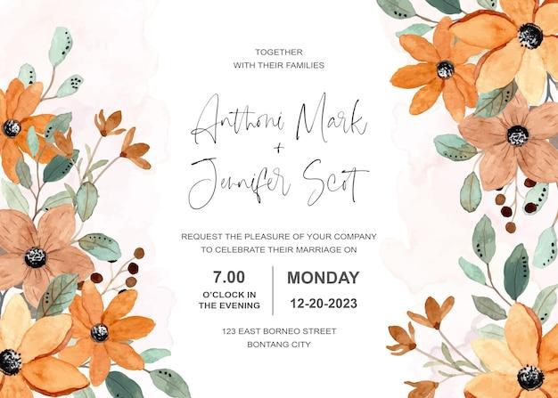 Carta di invito a nozze con acquerello floreale marrone