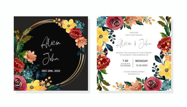 Carta di invito a nozze con acquerello floreale colorato