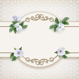 Biglietto d'invito per matrimonio con cornice dorata decorativa e fiori bianchi