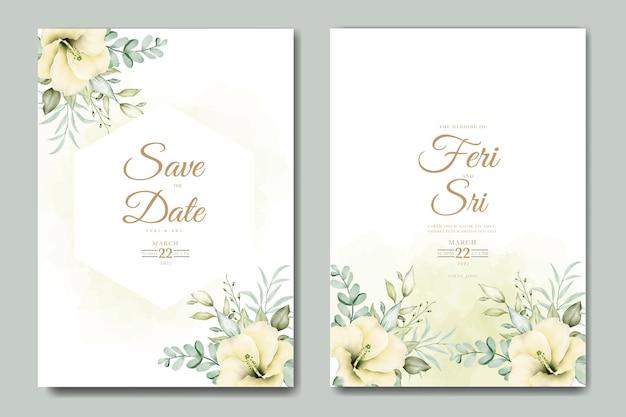 Carta di invito a nozze con foglie floreali modello acquerello