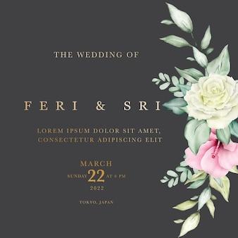 Carta di invito a nozze con foglie floreali acquerello