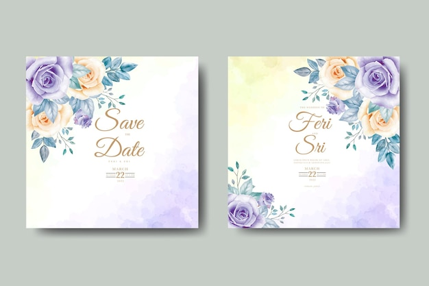 Carta di invito a nozze con acquerello floreale