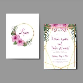 Scheda dell'invito di cerimonia nuziale con il fiore di ibisco rosa