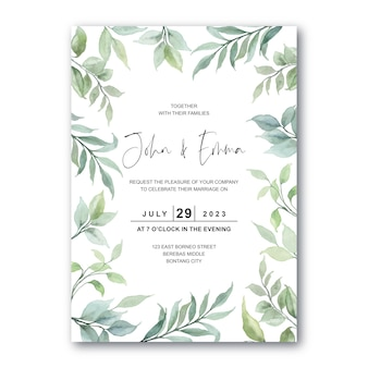 Carta di invito a nozze con foglie verdi acquerello