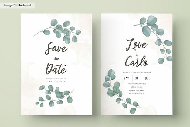 Carta di invito a nozze con foglie di eucalipto verde