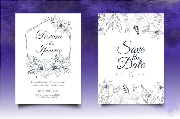 Carta di invito a nozze con decorazioni floreali disegnate a mano