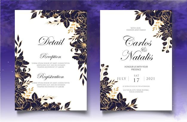 Carta di invito a nozze con decorazioni floreali di lusso