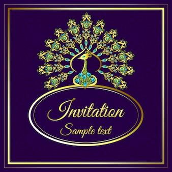 Invito a nozze o carta con gioielli di pavone