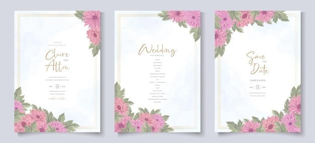 Biglietto d'invito per matrimonio con disegno di fiori di crisantemo rosa