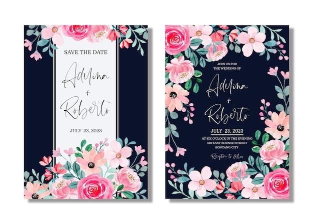 Carta di invito a nozze con acquerello floreale rosa