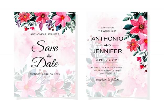 Carta di invito di nozze con acquerello fiore rosa