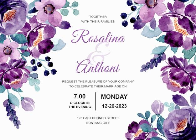Carta di invito a nozze con acquerello floreale viola