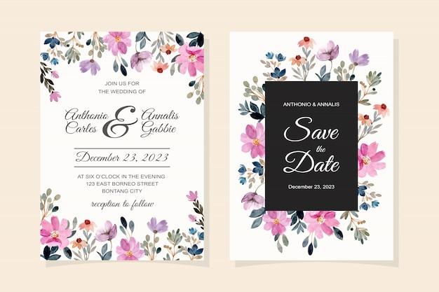 Carta di invito di nozze con acquerello fiore viola