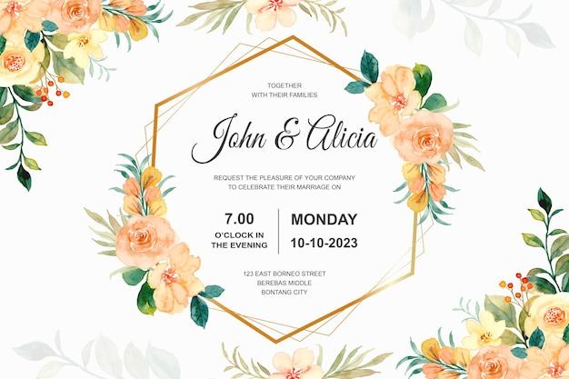 Biglietto d'invito per matrimonio con acquerello di fiori di rosa