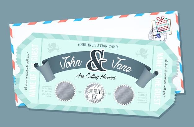 Carta di invito a nozze con elemento gratta. biglietto in stile retrò.