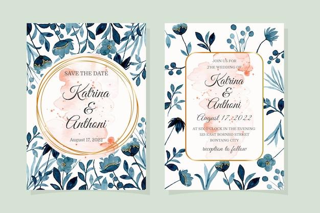 Carta di invito a nozze con acquerello blu floreale