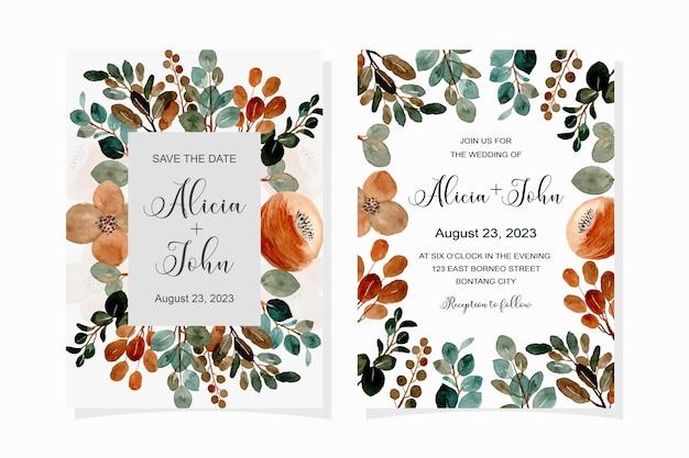 Carta di invito a nozze con fiore marrone dell'acquerello e foglie verdi