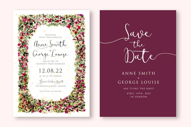 Carta di invito a nozze con cornice giardino floreale dell'acquerello